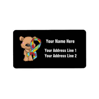 Autism Awareness Bear Address Label