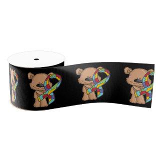 Autism Awareness Bear Grosgrain Ribbon