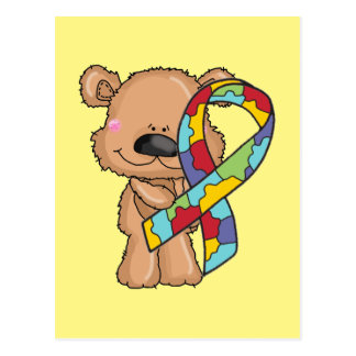 Autism Awareness Bear Postcard