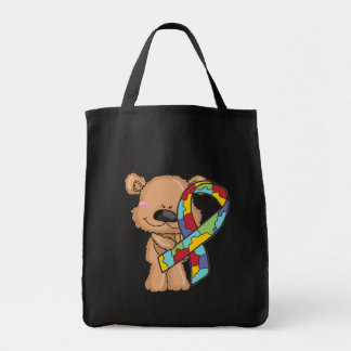 Autism Awareness Bear Tote Bag