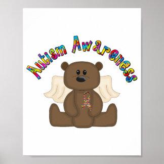 Autism Awareness boy bear Poster