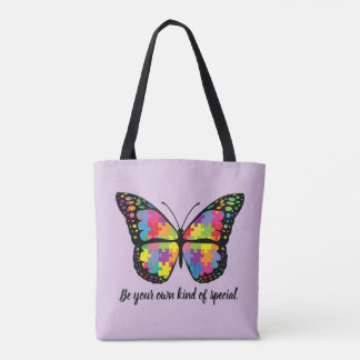 Autism Awareness Butterfly Puzzle Piece Tote Bag