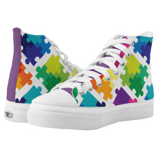 Autism Awareness Colorful Puzzle Pieces High Tops