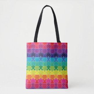 Autism Awareness Colorful Puzzle Pieces Tote Bag