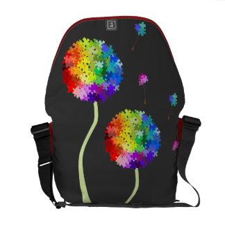 Autism Awareness Dandelion Wishes Rickshaw Messeng Commuter Bags