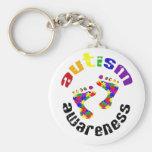 Autism awareness footprints keyring basic round button key ring