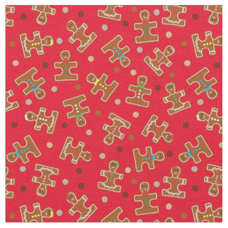Autism Awareness Ginger Puzzle Men Holiday Fabric