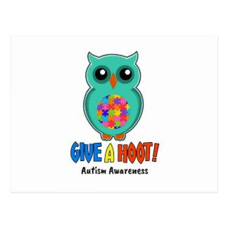 Autism Awareness Give A Hoot Owl Autism Postcard