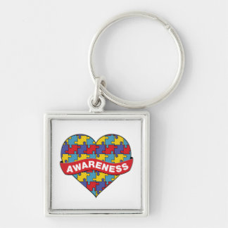 Autism Awareness Heart Banner Silver-Colored Square Key Ring