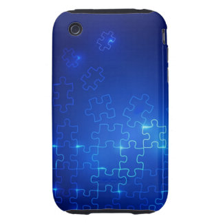 Autism Awareness iPhone 3 Case Glowing Blue Puzzle