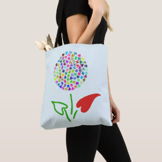 Autism Awareness. Love, Heart, Puzzle Flower Tote Bag