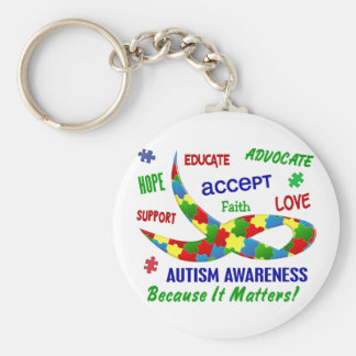 AUTISM AWARENESS MONTH APRIL BASIC ROUND BUTTON KEY RING