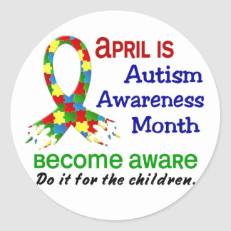 AUTISM AWARENESS MONTH APRIL ROUND STICKER