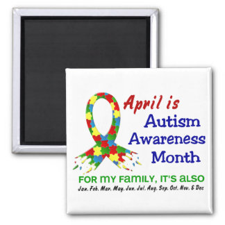 AUTISM AWARENESS MONTH EVERY MONTH SQUARE MAGNET