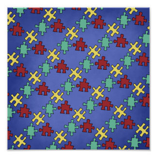 Autism Awareness Puzzle Background Posters
