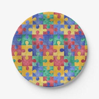 Autism Awareness puzzle paper plates