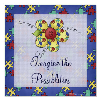 Autism Awareness Puzzle Piece Flower Print