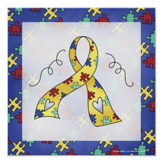 Autism Awareness Puzzle Piece Ribbon Print