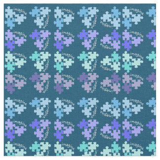 Autism Awareness Puzzle Pieces Blue Shades Fabric