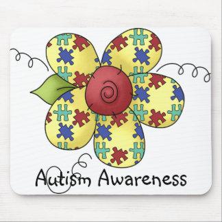 Autism Awareness Puzzle Pieces Flower Design Mouse Pad