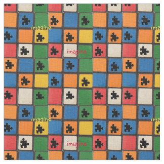 Autism Awareness Puzzle Pieces Mosaic Fabric