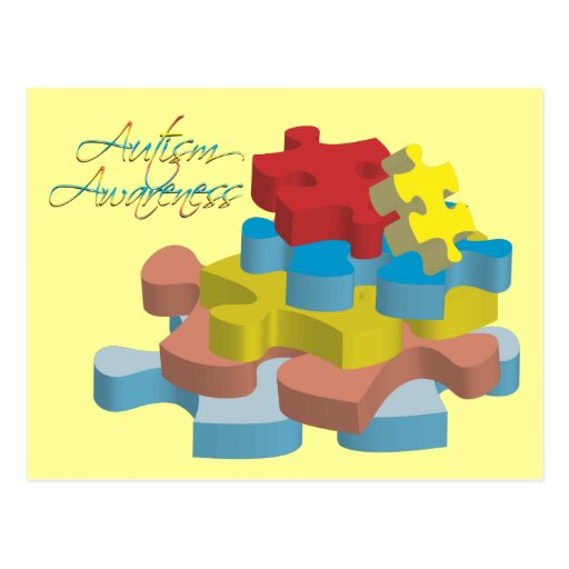 Autism Awareness Puzzle Pieces Postcard