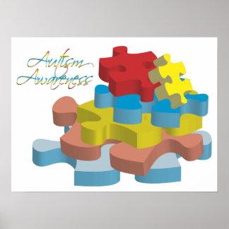 Autism Awareness Puzzle Pieces Poster Art