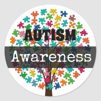 AUTISM Awareness Puzzle pieces Tree Stickers