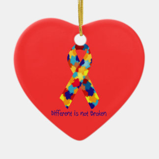 Autism Awareness Puzzle Support Ribbon Ceramic Ornament