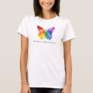 Autism Awareness Rainbow Puzzle Butterfly T-Shirt