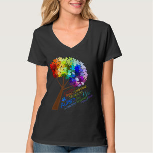 e1e10d424 Autism Awareness Rainbow Puzzle Tree with Words T-Shirt