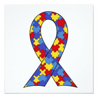 Autism Awareness  Ribbon 13 Cm X 13 Cm Square Invitation Card
