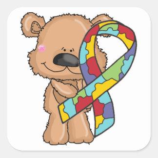 Autism Awareness Ribbon Bear Stickers
