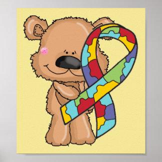 Autism Awareness Ribbon Bear Yellow Poster