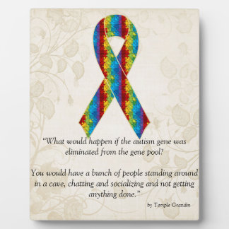 Autism Awareness Ribbon Design 2 Plaque