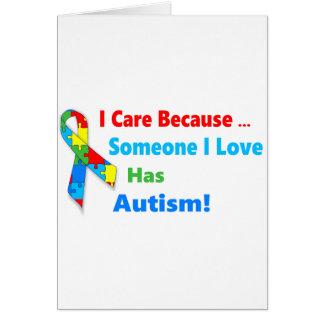 Autism awareness ribbon design card