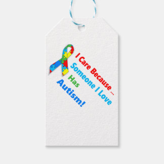 Autism awareness ribbon design gift tags
