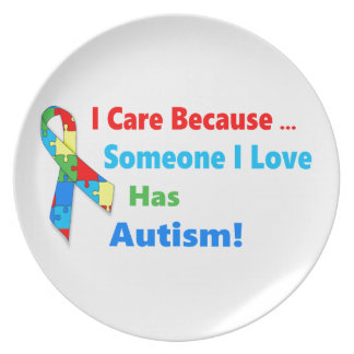 Autism awareness ribbon design plate