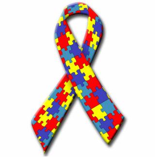 Autism Awareness Ribbon Pin Photo Sculpture Badge