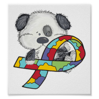 Autism Awareness Ribbon Puppy Poster