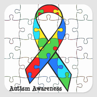 Autism Awareness Ribbon Puzzle Pieces Stickers
