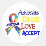 Autism Awareness Round Stickers