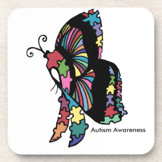 Autism Awareness side butterfly Beverage Coasters