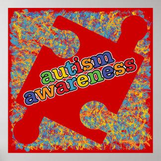 Autism Awareness Splatter Puzzle Ribbon Posters