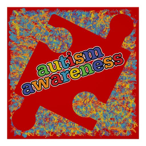 Autism Awareness Splatter Puzzle Ribbon Posters