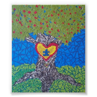autism awareness tree cut out poster