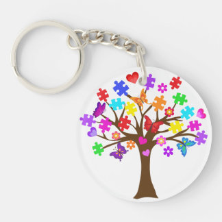 Autism Awareness Tree Key Ring