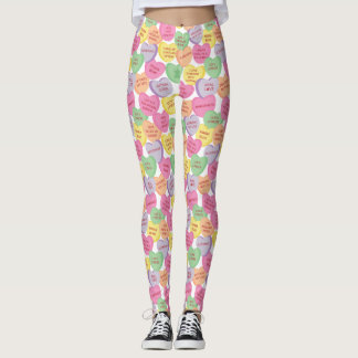 Autism Awareness Valentine Heart Candy Sayings Leggings