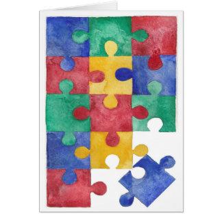 Autism Awareness watercolor puzzle Card