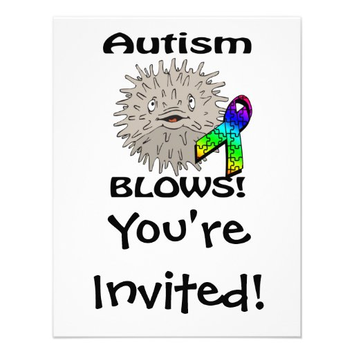 Autism Blows Awareness Design Personalized Invitations